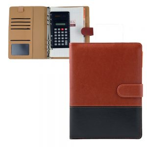 Organizer with or without calculator Document pockets Business card holders Material: PU Leather Size 8.5 Inches