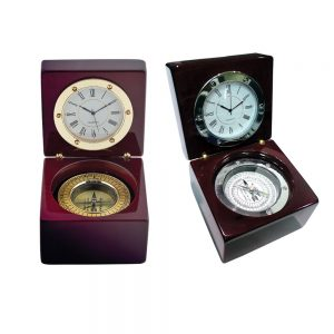 Clock with qibla, gold & silver